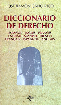 Portada del libro Diccionario de Derecho Español-ingles-frances